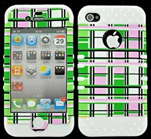 BUMPER CASE FOR IPHONE 4 SOFT WHITE SKIN HARD GREEN PINK YELLOW BLOCKS COVER by runtopwell