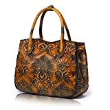 APHISON Designer Hand Bags Unique Embossed Floral Women's Header Layer Cowhide Wallets (Brown)