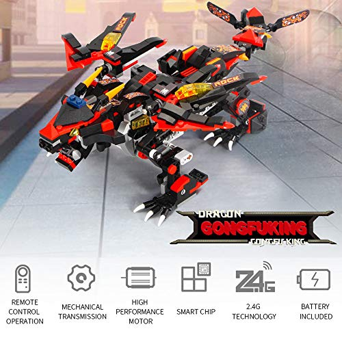LtrottedJ DIY Building Blocks Walking RC Smart Dinosaur Electronic Robot STEM Toy for Kids (Black)
