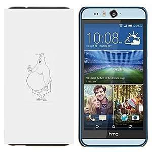 EJOOY---Cubierta de la caja de protección para la piel dura ** HTC Desire Eye M910x ** --pérdida de peso de grasa bosquejo minimalista gris