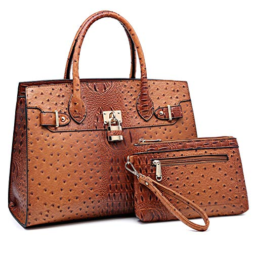 Women Handbags and Purses Ladies Shoulder Bag Ostrich Top Handle Satchel Tote Work Bag with Wallet (Brown)