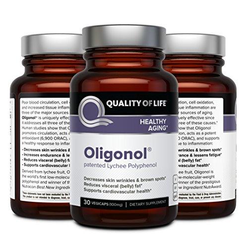 51qCJ3kUn%2BL - Quality of Life Oligonol Premium Anti Aging Supplement-Supports Cardiovascular Health Youthful Skin, Circulation, Weight Loss, 30 Vegicaps (100mg)