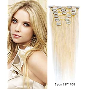 "Mike & Mary Clip in Hair Extensions 18"" Straight Human Hair Extensions 7pcs Set 70 grams with 16 Clips 100% Remy Human Hair (Platinum Blonde #60)"