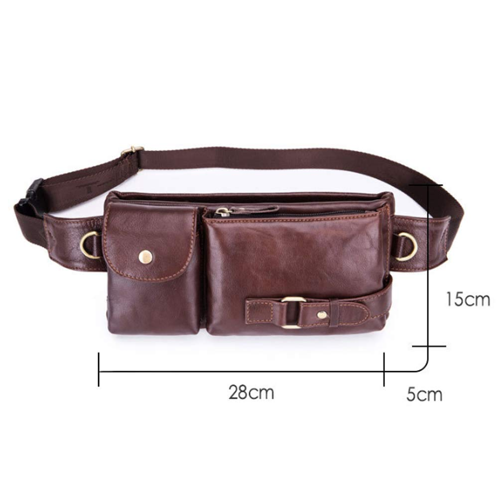 Shengjuanfeng Mens Chest Bag Mobile Phone Pockets Shoulder Crossbody Bag Multifunctional Leather Chest Leather for Travel Color : Brown, Size : M