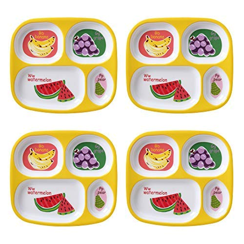 Used, Mainstays 4-Pack Melamine Divided Plate, Multiple Prints, for sale  Delivered anywhere in USA