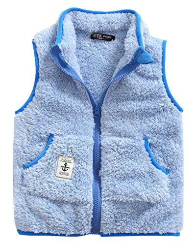 Girls Lamb Wool Waistcoat Winter Warm Zipper Up Sleevless Windcoat 7-8T (Lamb Zipper)