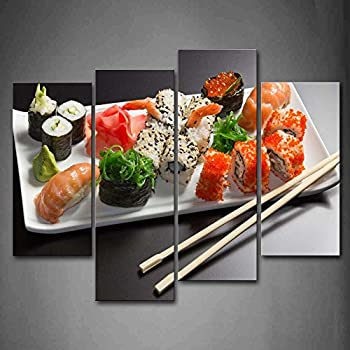 First wall art various colorful sushi in for Modern house sushi 9 deler sett
