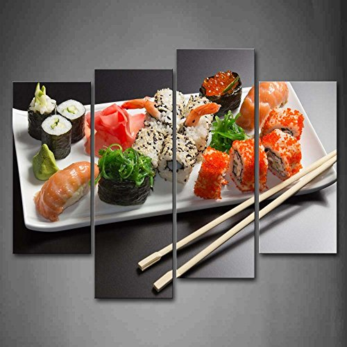 First Wall Art - Various Colorful Sushi With Chopsticks In Plate Wall Art Painting Pictures Print On Canvas Food The Picture For Home Modern -