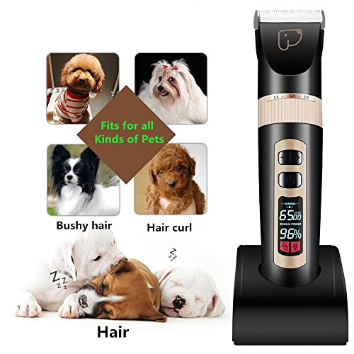 kiizon Dog Grooming Clippers 3/5-Speed Professional Rechargeable Cordless Pet Clippers&Hair Trimmer Tool Kit/Set for Thick Coats Cats with LED Screen Indication Intelligent Protection