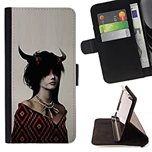 KingStore / Leather Etui en cuir / Samsung Galaxy Core Prime / Dragón de cuernos Chica