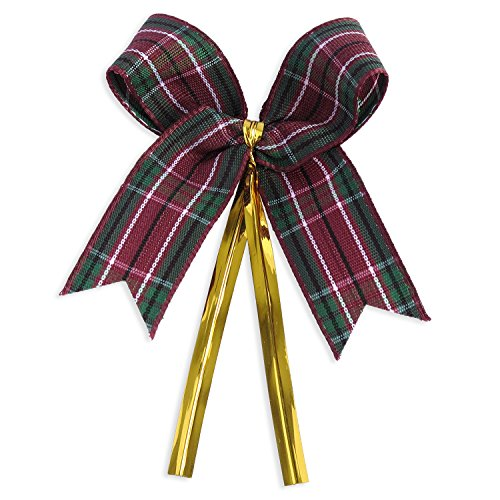 Ribbon Bows with Twist Ties (50 Pieces) - Medium Size: 2 Inches - Made of High Quality Woven Ribbon - Great for Bakery Bag, Cello Bag, Lollipop, Cake Pop and Party Favor (Purple and Green Tartan)