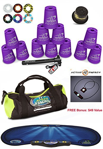 "Speed Stacks Custom Combo Set - The Works: 12 PURPLE 4"" Cups, Cup Keeper, Quick Release Stem, Pro Timer, Gen 3 Mat, Snap Tops, Gear Bag + FREE Bonus: Active Energy Power Balance Necklace $49 Free"