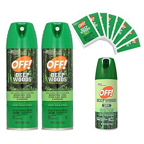Off! Deep Woods Dry Insect Repellent - Bug Spray 3 Pack & Towelettes by OFF