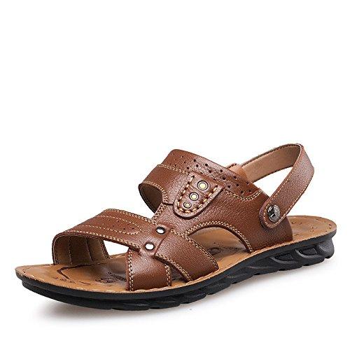 Summer New pattern Manual Suture sandals Cowhide sandals Men's Shoes Beach ,Brown,UK=8.5,EU=42 2/3