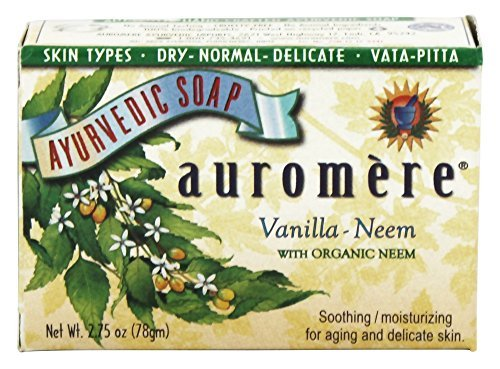- Vanilla with Organic Neem - Handmade Herbal Soap (Aromatherapy) with 100% Pure Essential Oils - ALL Natural - Each 2.75 Ounces - Pack of 3 (8 Ounces)- Auromere