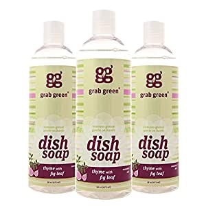 Grab Green Natural Dish Soap, Thyme with Fig Leaf, 16 Ounce (3 Count)