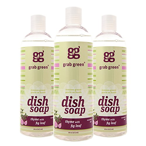 Grab Green Naturally-Derived, Biodegradable Liquid Dish Soap, Thyme with Fig Leaf, 16 Ounce Bottle (3-Pack)