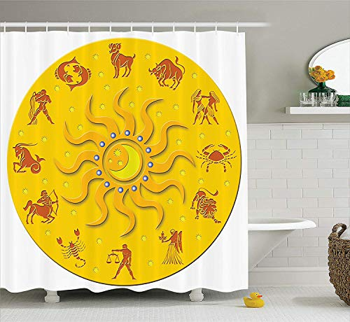 - TYANG Astrology Decorations Collection,Round Plate with Zodiac Astrology Planets Horoscope Icons Chic Details Home,Polyester Fabric Bathroom Shower Curtain,Yellow Orange 7272 inches