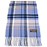 Rosemarie Collections 100% Cashmere Winter Scarf Made In Scotland (Blue White Navy Plaid)