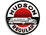 American Vinyl Round Vintage Hudson Gas Sticker (Gasoline Logo Old Rat Rod)