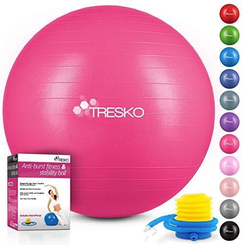 TRESKO® Gymnastikball mit GRATIS Übungsposter inkl. Luftpumpe | BPA-Frei | 55cm 65cm 75cm 85cm | Sitzball | Anti-Burst Yogaball | 300 kg | Fitness Yoga Core