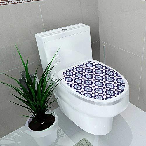 - Auraise-home Bathroom Toilet seat Sticker Decal Portuguese azulejo Tiles for Scrapbooking Paper Web Surface Textures Decal Sticker Vinyl W14 x L14