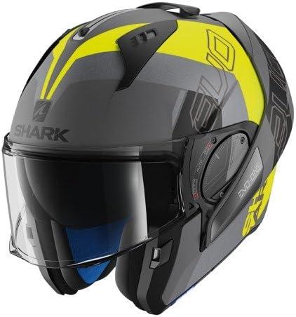 Negro//Amarillo//Gris XS Shark Casco de moto EVO-ONE 2 SLASHER MAT AYK