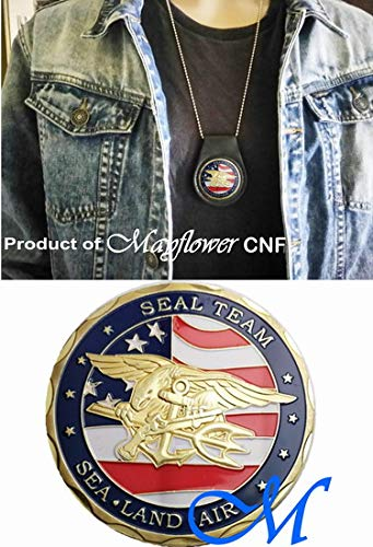 - Mayflower CNF Coin &Leather Holder - U.S. Seal Team - Sea - Land - Air - Fight for Freedom