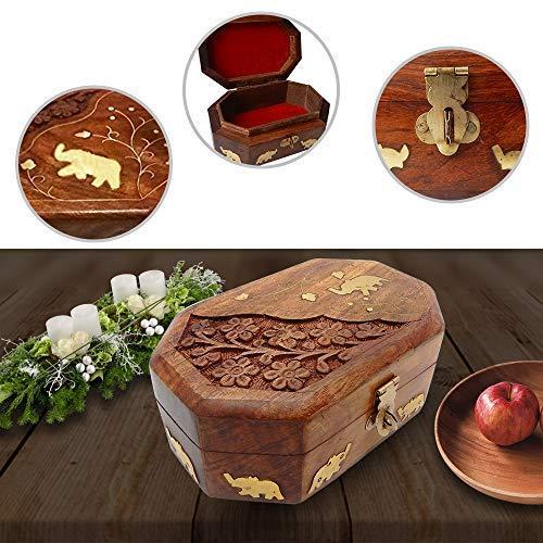 IndiaBigShop Handmade Wooden Jewelry Box With Beautiful Elephant Brass Inlay / Interact Carving Work and Velvet Interior Decorative Trinket Jewelry Box Organiser 6 Inch