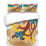 3Pcs Duvet Cover Set,Tropical Animals,Hipster Monkey with Surfboard and Glasses Drinking on Beach in Sunny Day Kids,Multi,Best Bedding Gifts for Family/Friends