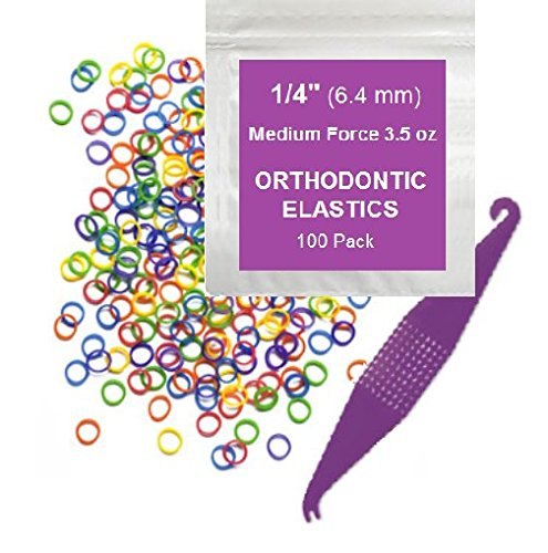 "Price comparison product image 1/4"" inch Orthodontic Elastic Rubber Bands, 100 Pack, Neon, Medium Force 3.5 oz, Small Rubberbands for making bows, Dreadlocks, Dreads, Doll Hair, Braids, Horse Mane, Horse Tail, Fix Tooth Gap in teeth, Top Knots + FREE Elastic Placer for braces"