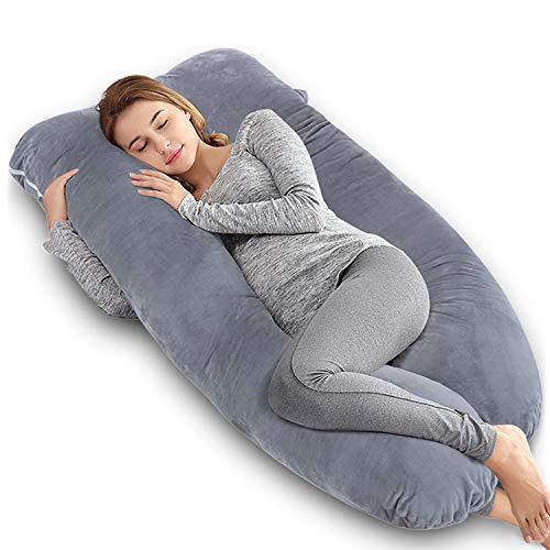 Body Support Pillow - AngQi Pregnancy Pillow, U Shaped Maternity Pillow for Pregnant Women, Full Body Pillow with Velvet Cover, Gray