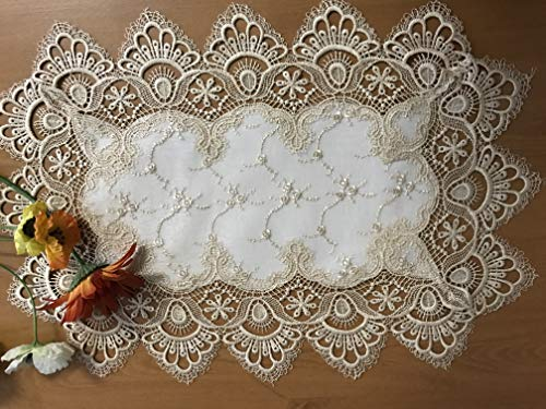 Tasleffa Beautiful Guipure/Venice Lace Embroidered Linen Place Mat: 12