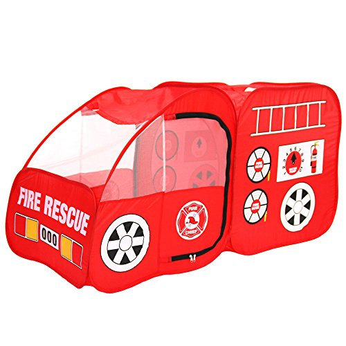 (Fire Engine Design Folding Portable Playpen Tent Play Yard Red)