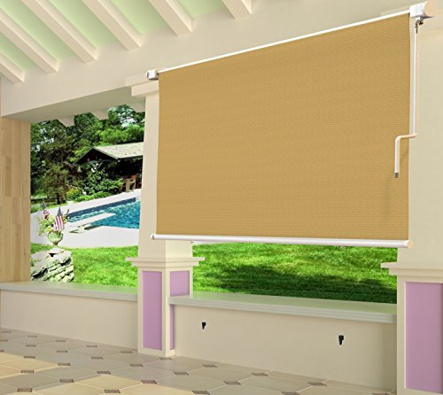From usa shatex 8x6ft wheat outdoor roller sun shade exterior cordless roller shade b01mqvndwe Cordless exterior sun shades