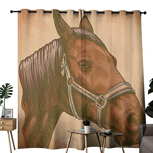 Animal Simple Modern Style Curtain Engraving Illustration of Detailed Hand Drawn Horse Head Retro Style Image Wedding Party Home Window Decoration W84 xL96 Brown and Sand Brown]()