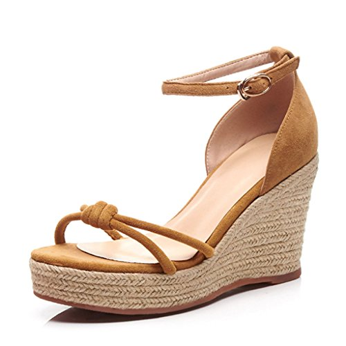Summer 9cm Yellow High Heels Platform Straw Womens Newest Sandals Wedge ZYwqEOE