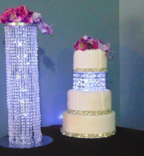 8 inch Serenity Glass Crystal Acrylic Cake Stand Separator with White LED Fairy Light