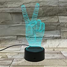 3D Optical Illusion Night Light - 7 LED Color Changing Lamp - Cool Soft Light Safe For Kids - Solution For Nightmares - Peace Hand Sign