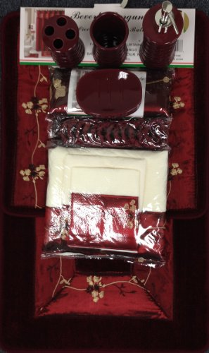 22 Piece Bath Accessory Set Burgundy Red Bath Rug Set + Shower Curtain ...