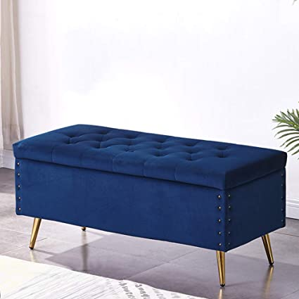 bed storage seat bench navy blue
