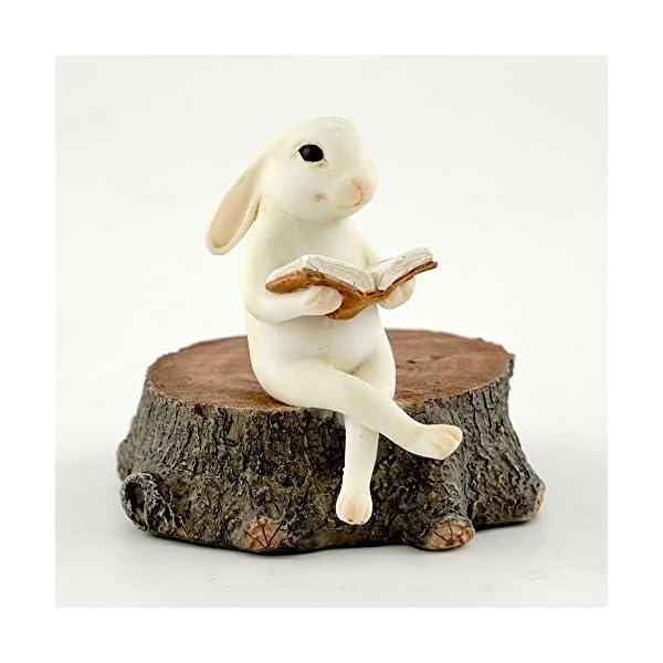 Top Collection Miniature Fairy Garden Bunny Reading On Stump Statue