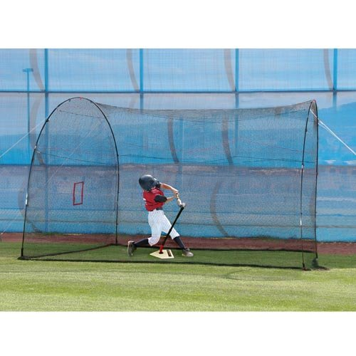 HEATER SPORTS HomeRun Baseball and Softball Batting Cage Net and Frame, With Built In Pitching Machine Square (Machine NOT Included) Home Run Batting Cage