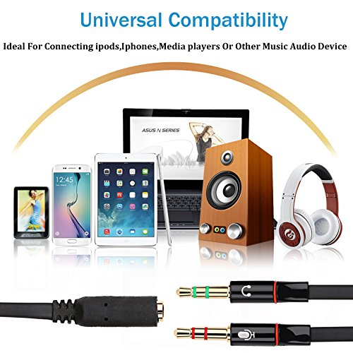 Headphone Splitter for Computer, Yeeco 10 Pack 3.5mm Female to 2 Dual 3.5mm Male Headphone Mic Audio Y Splitter Cable Smartphone Headset to PC Adapter - 0.7ft by Yeeco (Image #5)