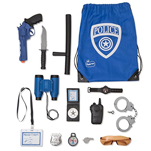 Policeman Costumes Kids (Police Role Play Kit By Funky Toys | 15-Piece Cop Toy Set | Gun Badge Handcuffs Binoculars (Blue Or Green) & Policeman Accessories | Detective Gear For Dress Up & Kids Costumes | Officer Bag Included)