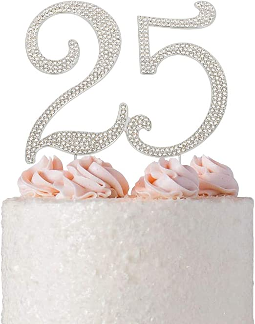 25 Years Loved Crystal Cake Topper For 25 Years Birthday Or 25th Wedding Anniversary Rhinestone Metal Party Decoration Silver