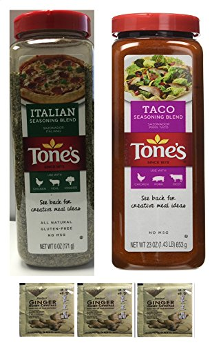 Tone's Spices Taco Seasoning Traditional Blend for Mexican Dishes 23Oz+Tone's Italian Seasoning - Classic Blend of Herbs (6 oz)Plus a Free Gift Instant Ginger Honey Crystals