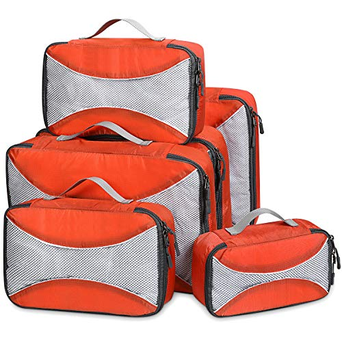 G4Free Packing Cubes 6pcs Set Travel Accessories Organizers Versatile Travel Packing Bags(Orange)