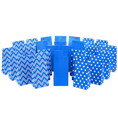Hallmark Blue Assorted Favor Bags (30 Ct., 10 each of Chevron, White Dots, Solid Blue) ()
