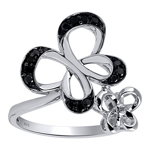 Black Diamond Butterfly Ring - 1